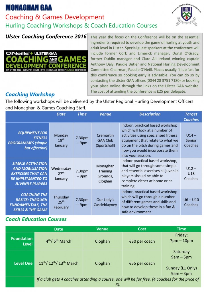 Winter and Spring 2015 2016 Hurling Coaching Workshops and Education