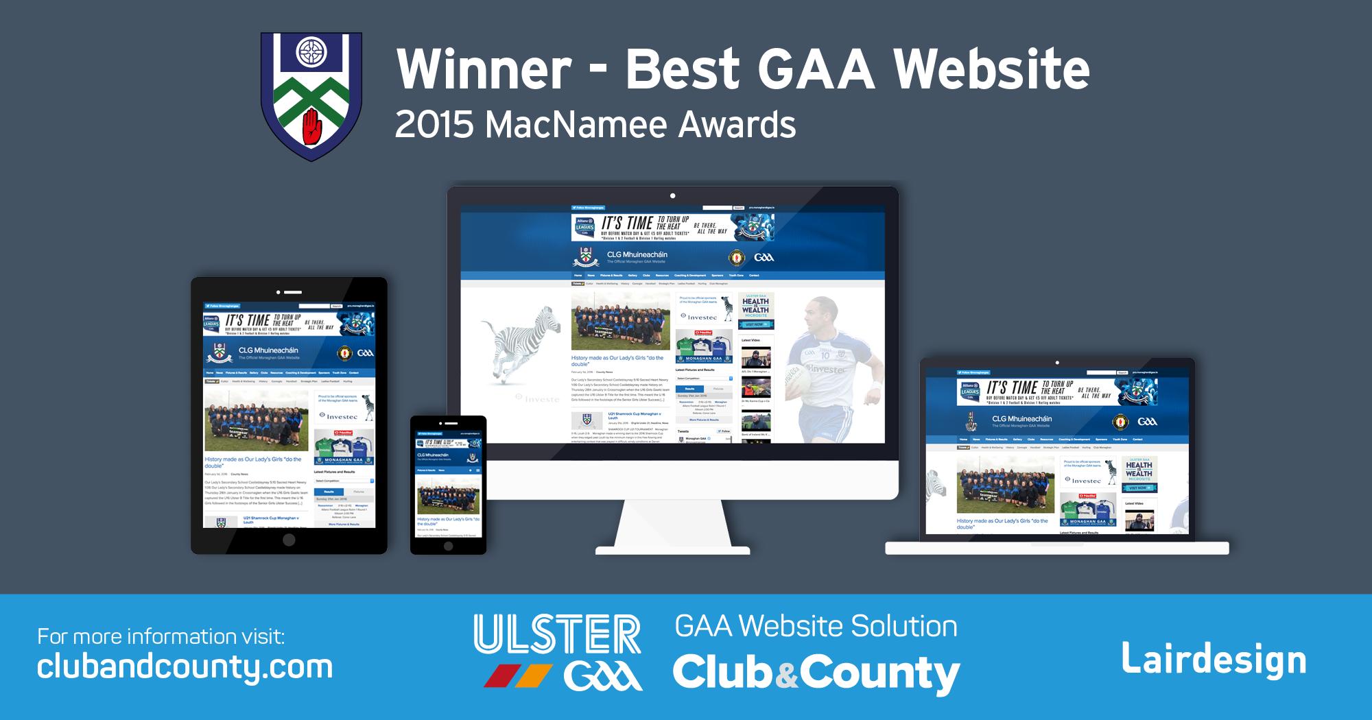 Monaghangaa.ie wins GAA Website of the Year at the 2015 MacNamee Awards