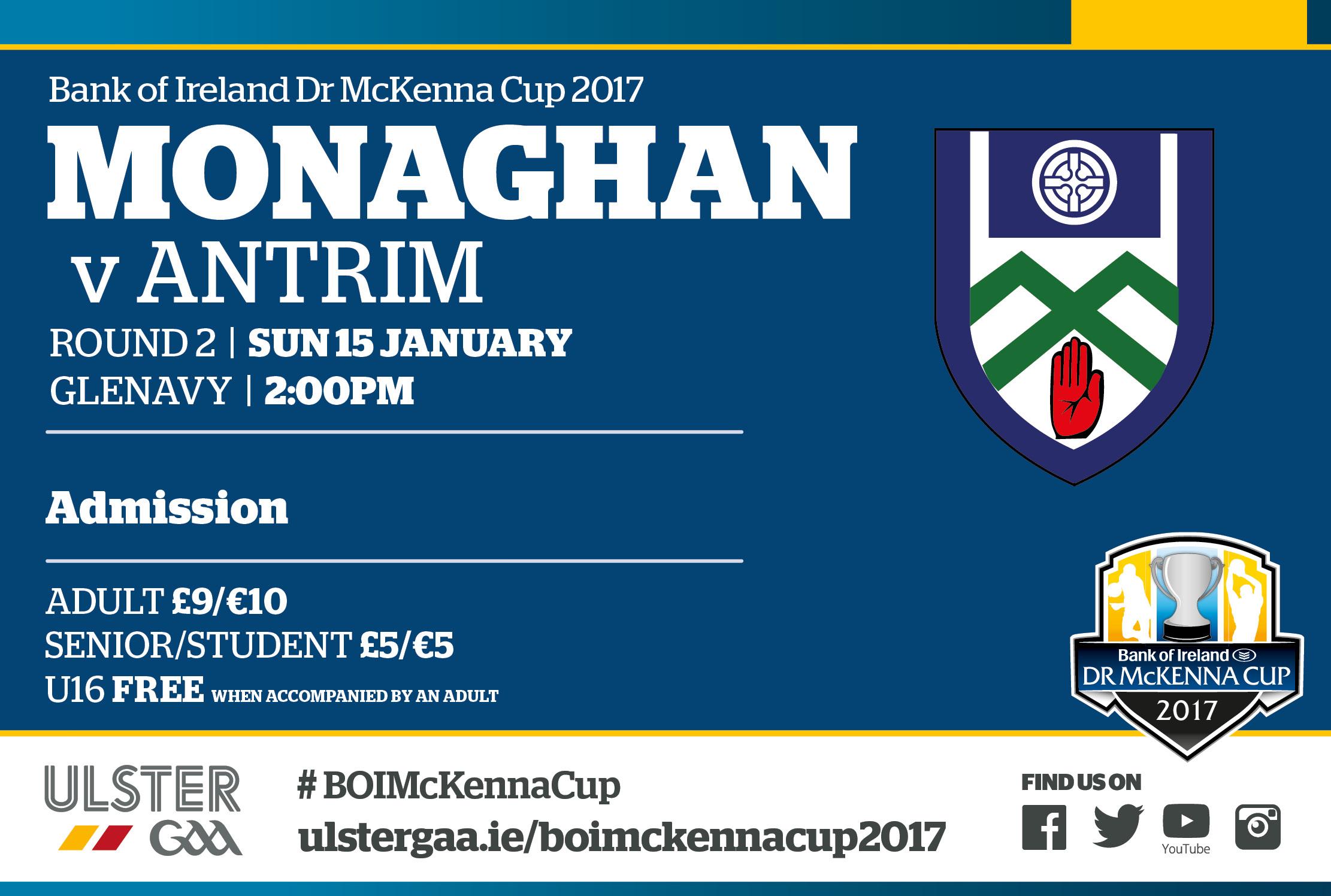 Monaghan Team v Antrim Sunday 15th January