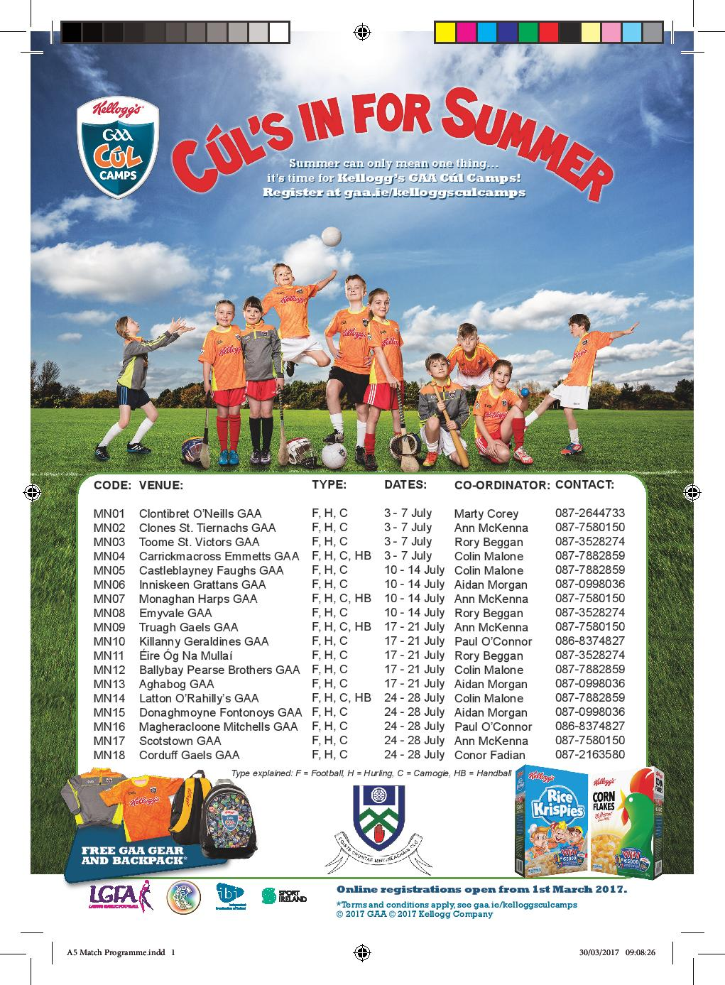 Cúl Camps – Upcoming Registration Nights! Book now and avoid disappointment!