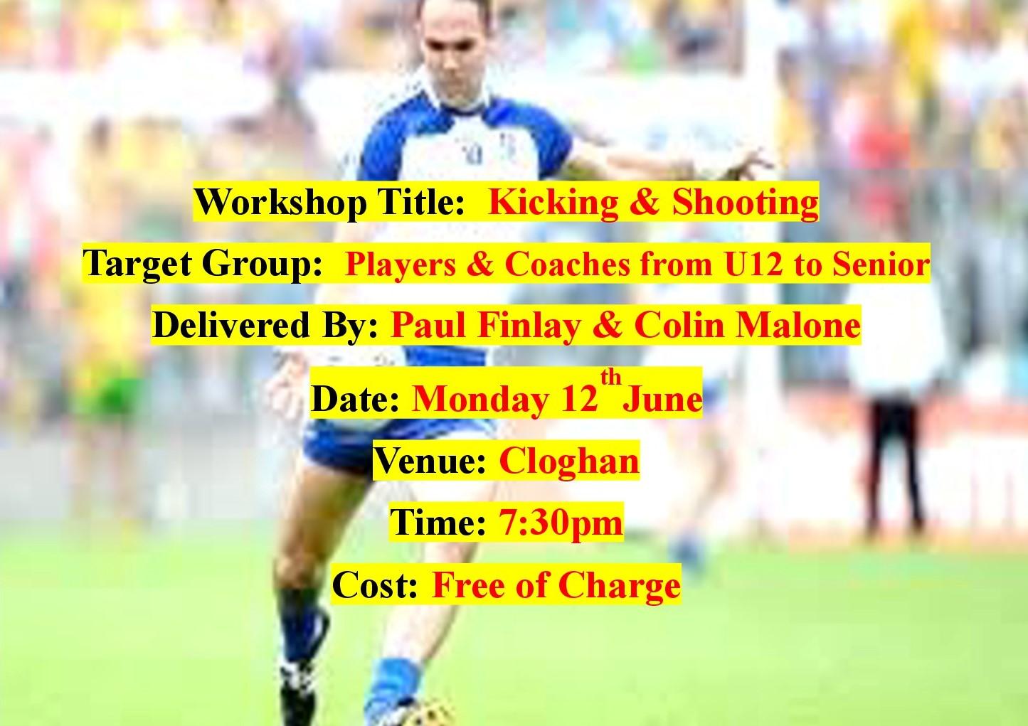 Kicking & Shooting Coaching Workshop- This Monday 12th June @7:30pm Cloghan