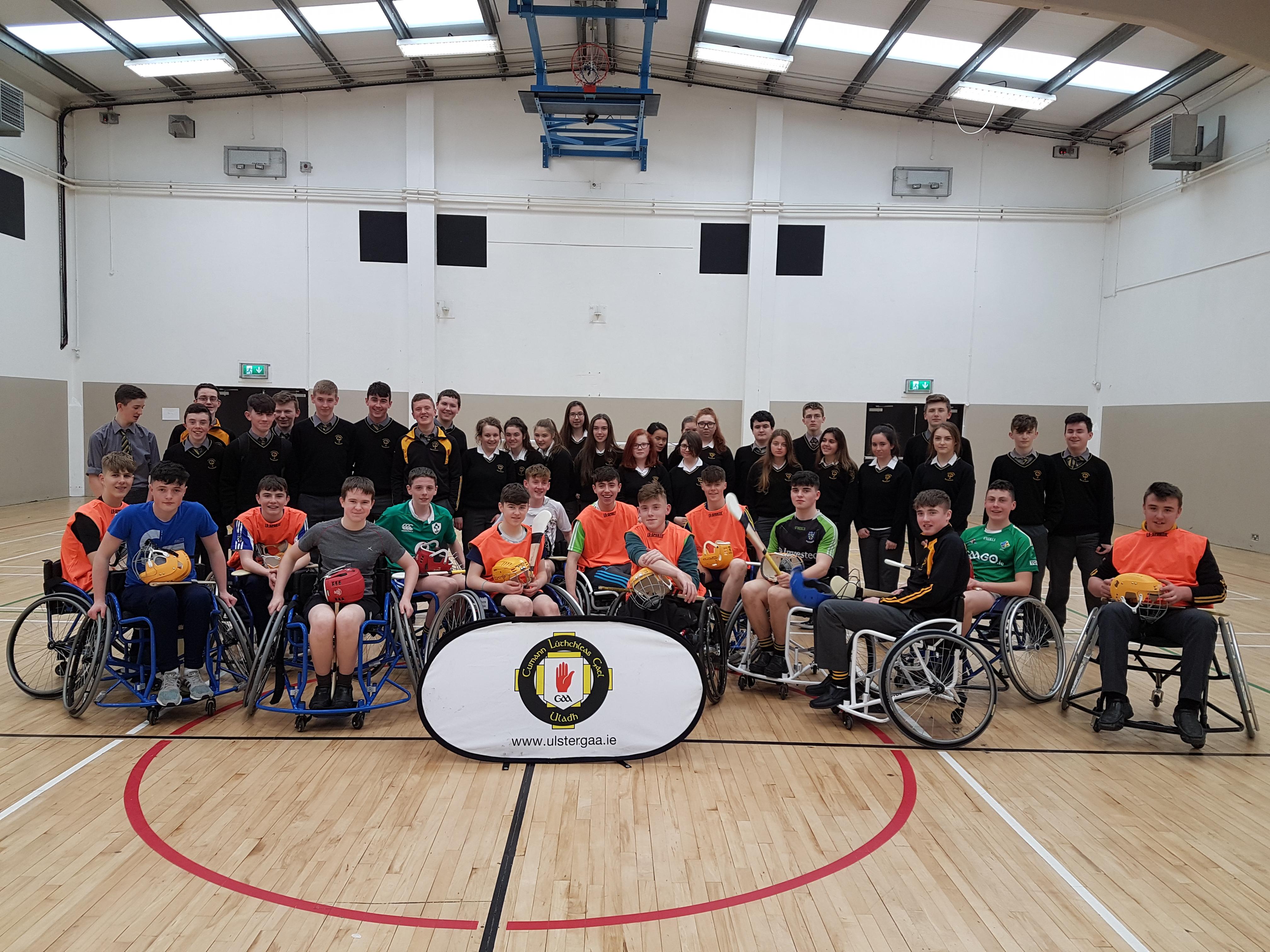 Wheelchair Hurling Roadshow at Ballybay Community College
