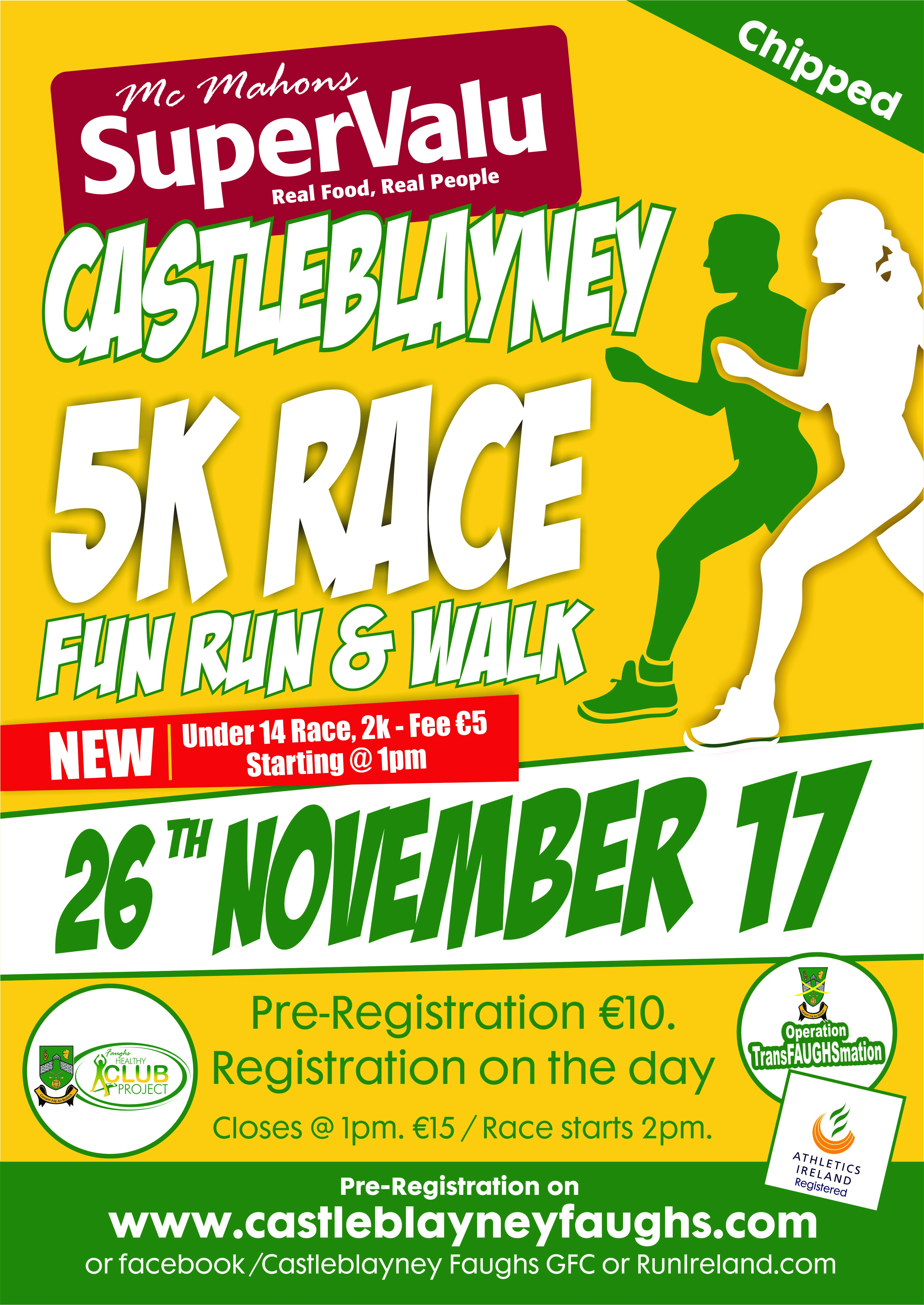 Supervalu Castleblayney 5K ready for the off this Sunday 26th of November