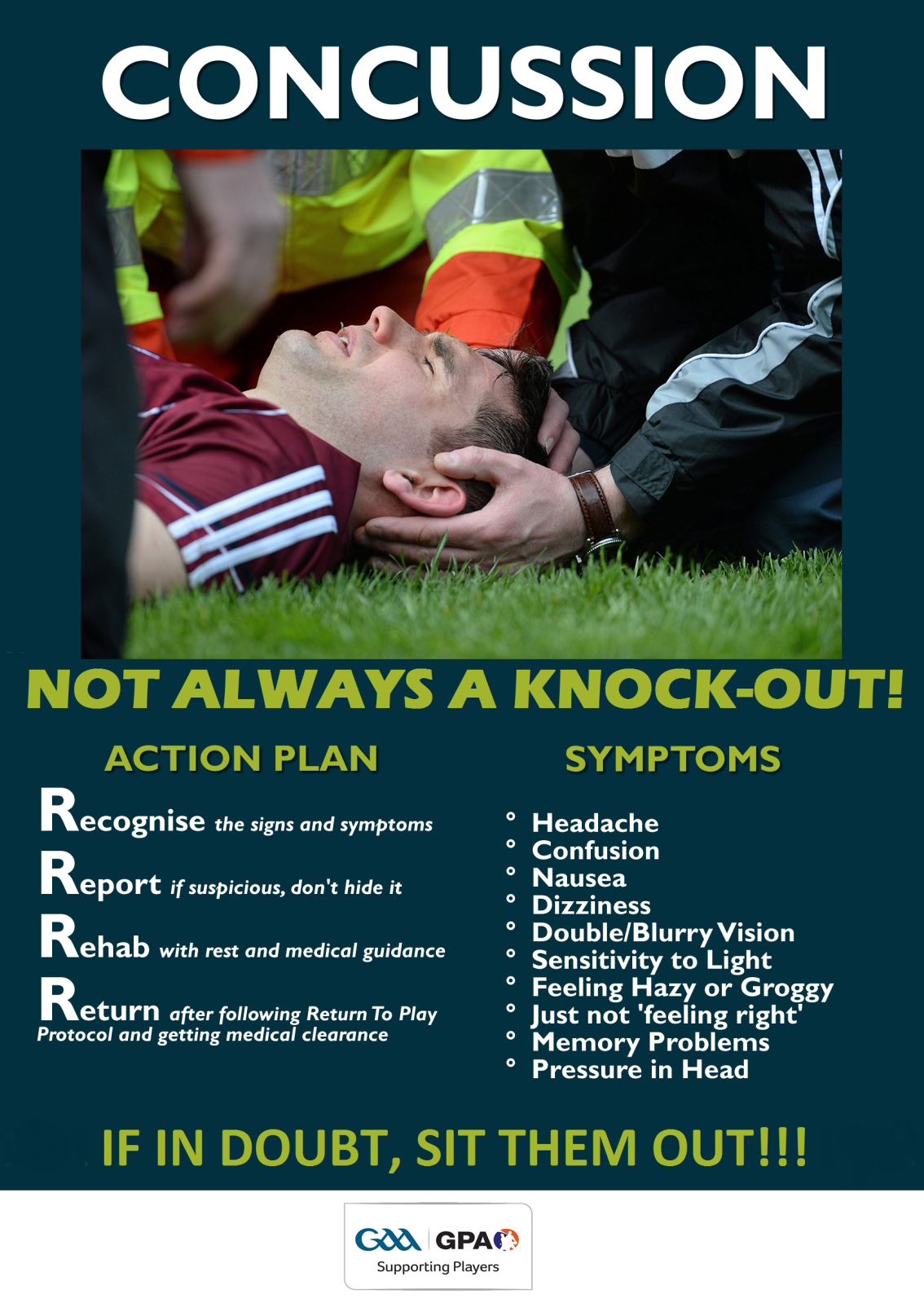 "Concussion Awareness – Start of new playing season ""if in doubt take them out""!"
