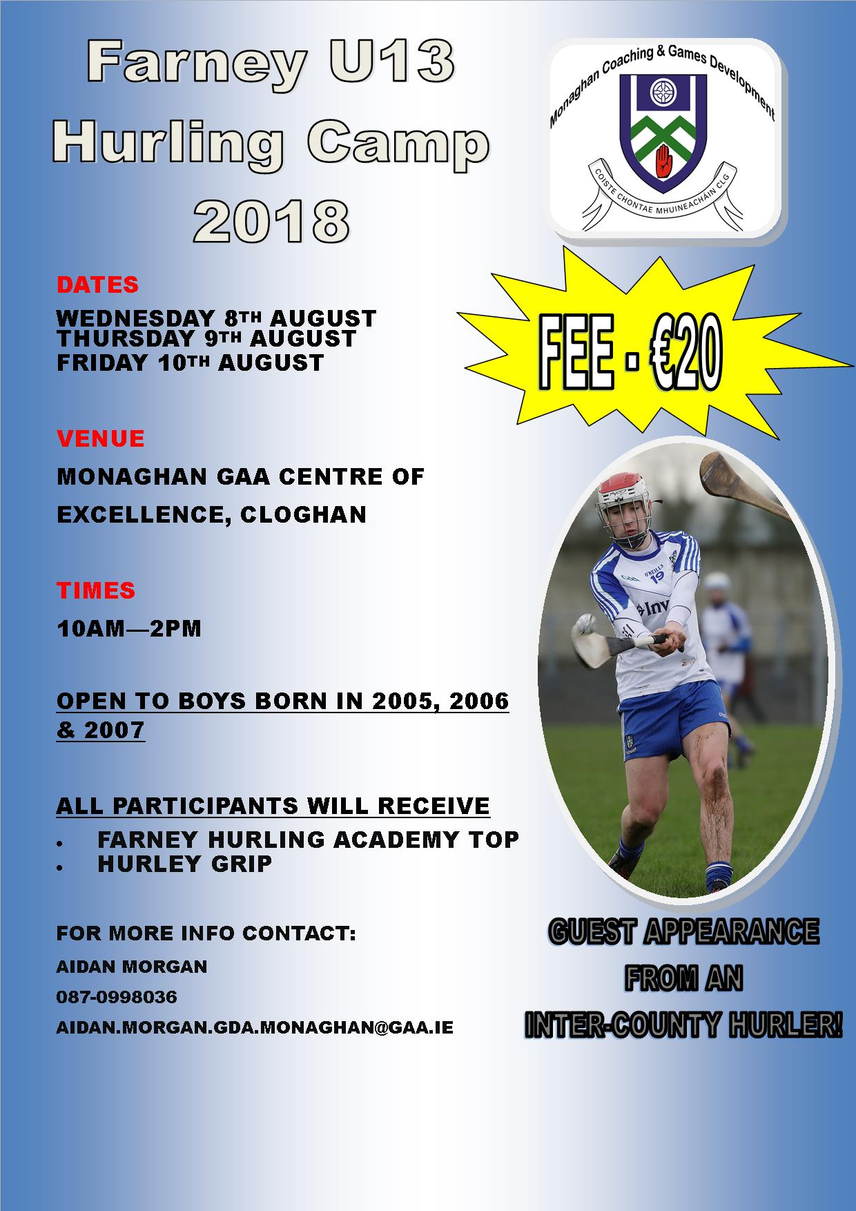 Farney U13 Hurling Academy Camp – Applications now open!