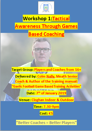 Colm Nally Coaching Workshop Tonight (7th Jan) in Cloghan. All Welcome!!
