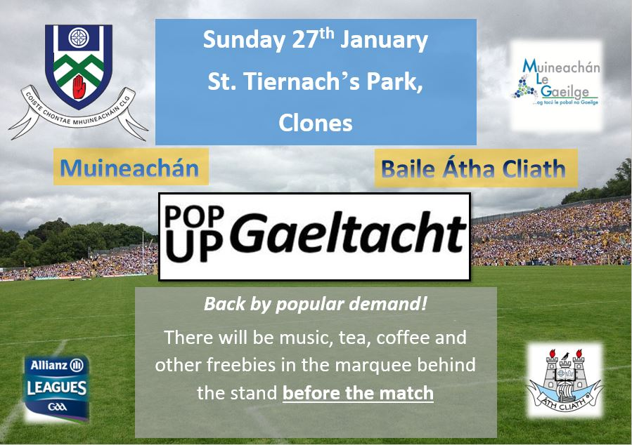 Back by popular demand… The Pop-up Gaeltacht in St. Tiernach's Park, Clones 27th January