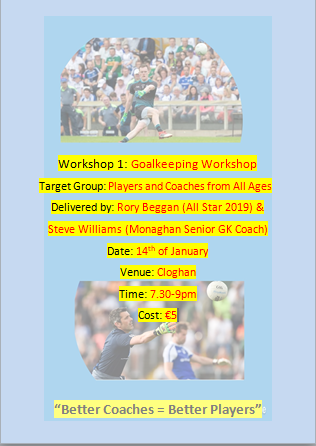 Rory Beggan & Steve Williams Goalkeeping Workshop, Monday 14th Jan!!