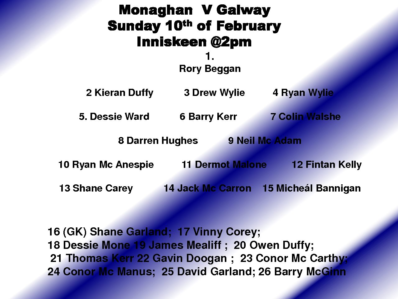 #Allianz League  Round 3 Monaghan V Galway  – Inniskeen at 2pm tomorrow