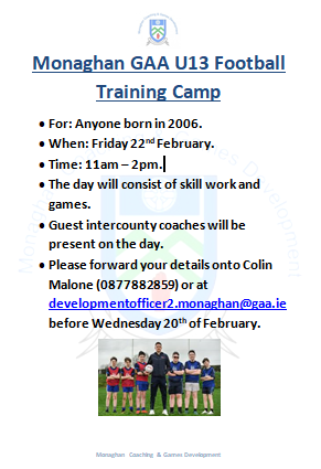 Monaghan GAA U13 Football Training Camp