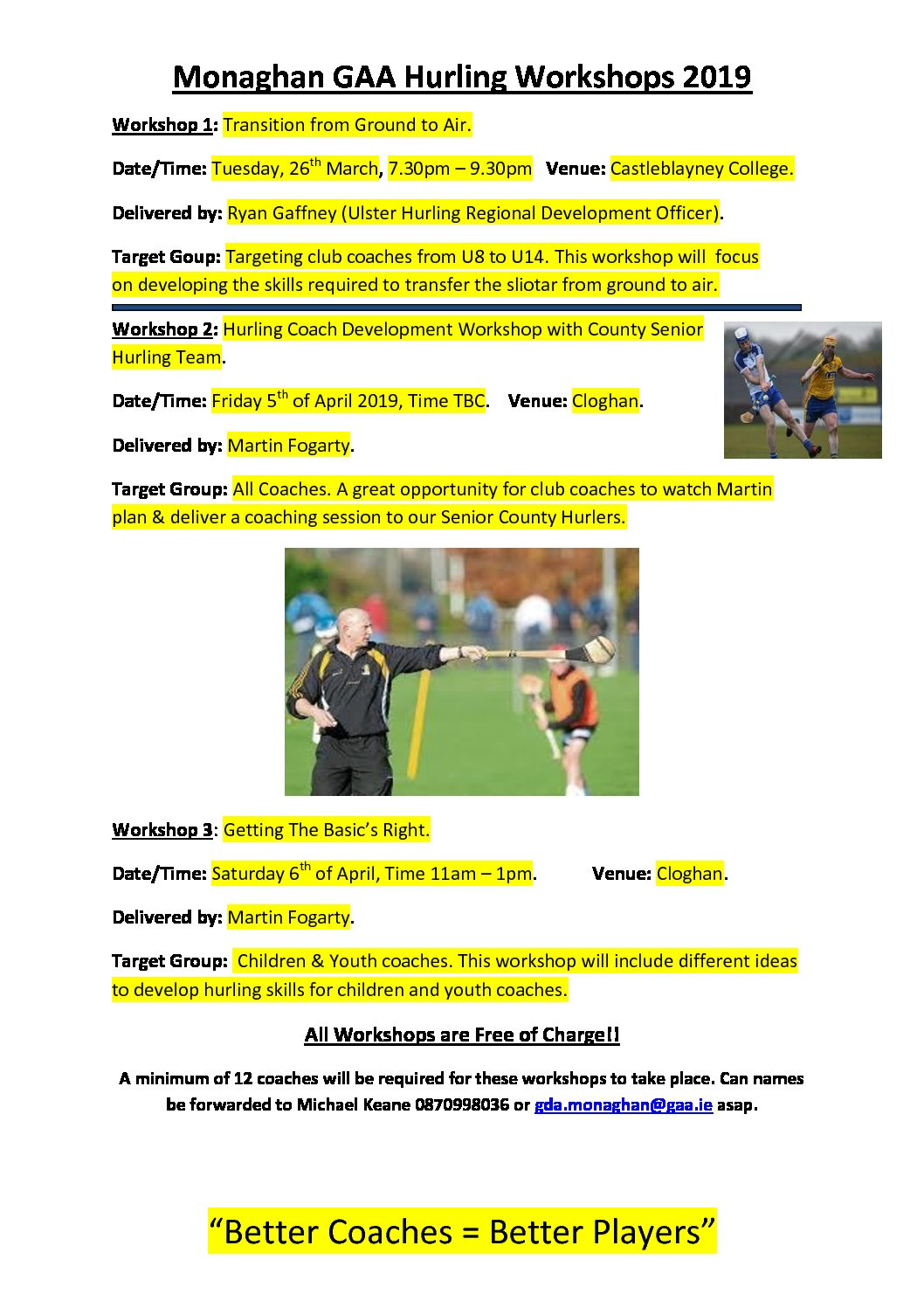Monaghan GAA Hurling Workshops 2019